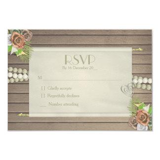 Cartão Madeira rústica e RSVP wedding floral