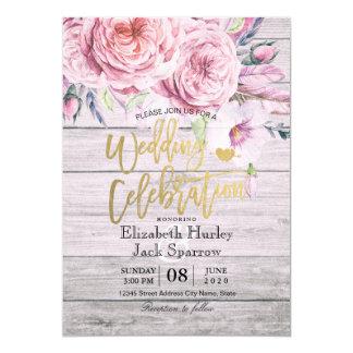 Cartão Madeira rústica floral de Boho da aguarela do chá