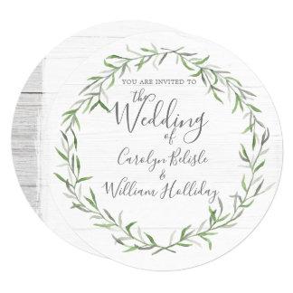Cartão Madeira rústica & folhas botânicas que Wedding o