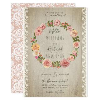 Cartão Madeira rústica, laço do vintage & casamento