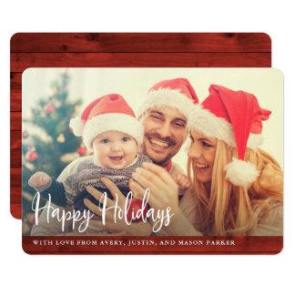 Cartão Madeira vermelha rústica | boas festas com foto