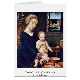 Cartão Madonna com a sopa do leite por David Gerard