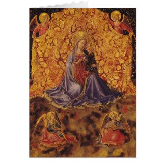 Cartão Madonna da humildade com criança e anjos do cristo