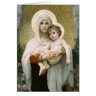 Cartão Madonna dos rosas por Bouguereau