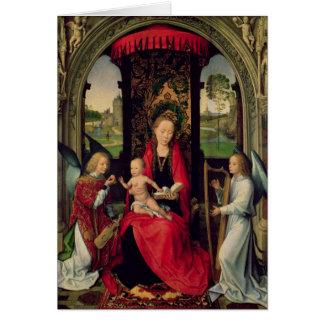 Cartão Madonna e criança com dois anjos