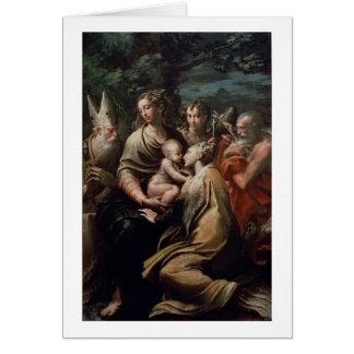 Cartão Madonna e criança com santos, c.1529 (óleo na