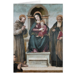 Cartão Madonna e criança Enthroned com santos