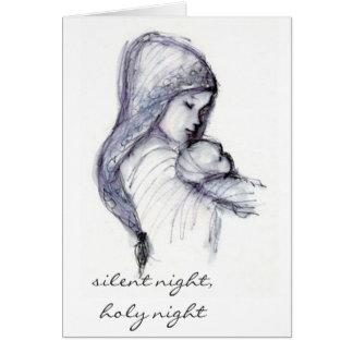 Cartão Madonna e criança, noite silenciosa, noite