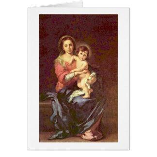 Cartão Madonna por Bartolome Esteban Murillo