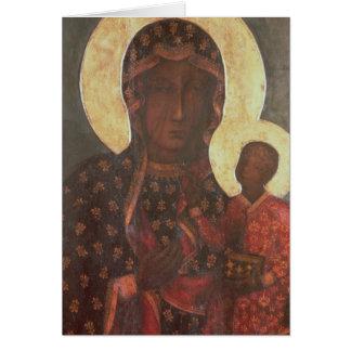Cartão Madonna preto de Jasna Gora