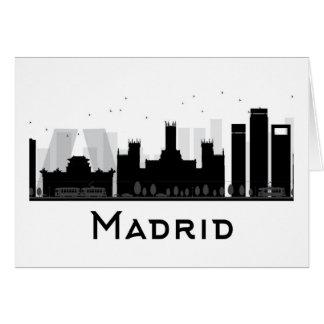 Cartão Madrid, espanha skyline preta & branca de | da