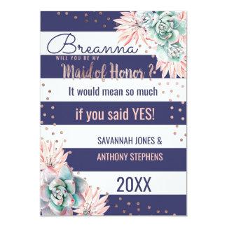 Cartão Madrinha de casamento cor-de-rosa do ouro das