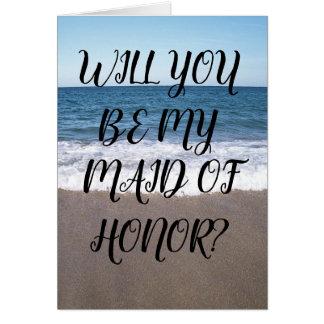 Cartão Madrinha de casamento para a praia no casamento do