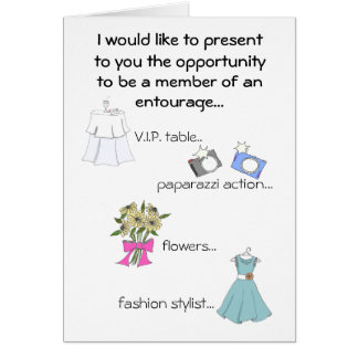 Cartão Madrinha de casamento/séquito