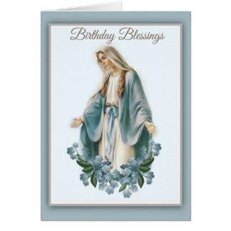 Cartão Mãe abençoada da Virgem Maria com flores