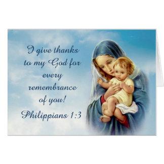 Cartão Mãe abençoada que guardara o bebê Jesus