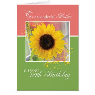 Cartão Mãe, aniversário do 90, apenas um girassol da nota