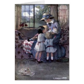Cartão Mãe & bebê da reunião das crianças,