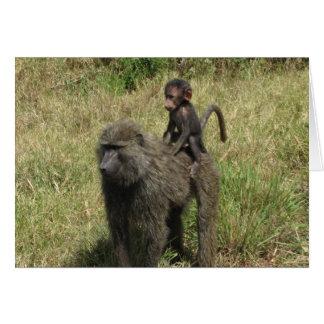 Cartão Mãe & bebê do babuíno