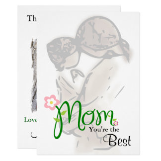 Cartão Mãe & criança com texto & a foto feitos sob