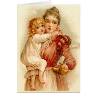 Cartão Mãe & criança em horas de dormir,