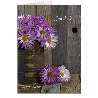 Cartão mães Amizade-roxas na lata de lata