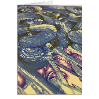 Cartão Mágica de Printmaking nos azuis e nos roxos