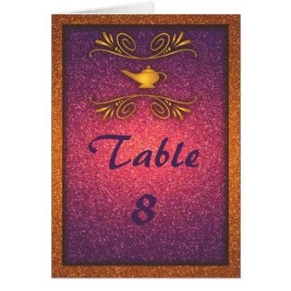 Cartão mágico colorido do número da mesa do