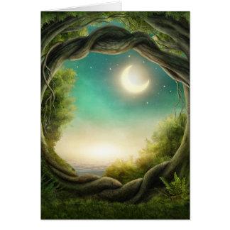 Cartão mágico da árvore da lua