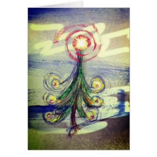 Cartão mágico da árvore de Natal do redemoinho