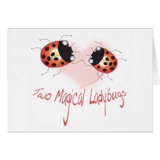 Cartão mágico de dois joaninhas - personalizado