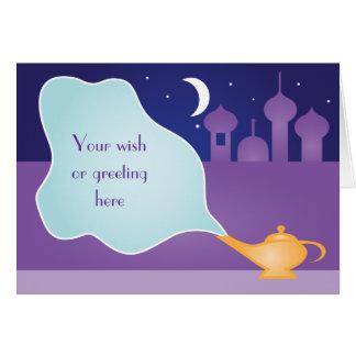 Cartão mágico do desejo da lâmpada da noite árabe