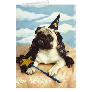 Cartão Mágico do feiticeiro do cão do Pug