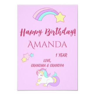 Cartão mágico feliz do aniversário do unicórnio