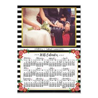 Cartão Magnético 2018 foto floral na moda das listras | do