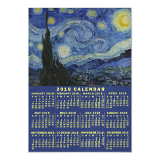 Cartão Magnético A noite estrelado do calendário de 2018 anos ou