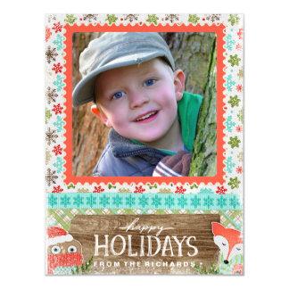 Cartão Magnético Boas festas foto do Natal do divertimento do Fox e