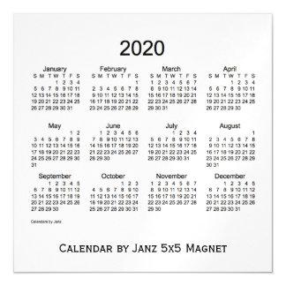 Cartão Magnético Calendário do fumo de 2020 brancos pelo ímã de