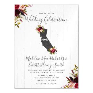 Cartão Magnético Estado Invitatio Wedding magnético rústico de