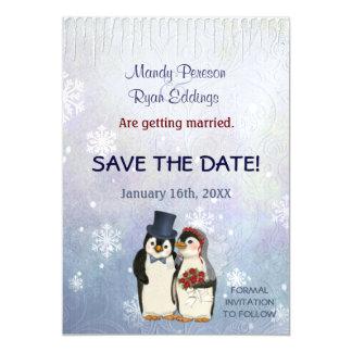 Cartão Magnético Flocos de neve do inverno do pinguim que Wedding