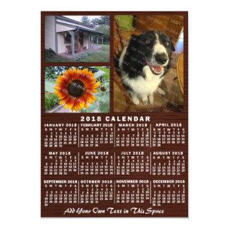 Cartão Magnético Fotos de madeira do costume 3 do calendário mensal