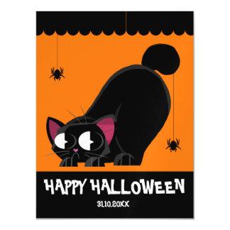 Cartão Magnético Gato preto e aranha do Dia das Bruxas