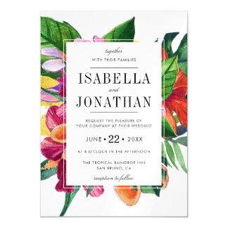 Cartão Magnético Hibiscus tropical, Plumeria & palma   Wedding