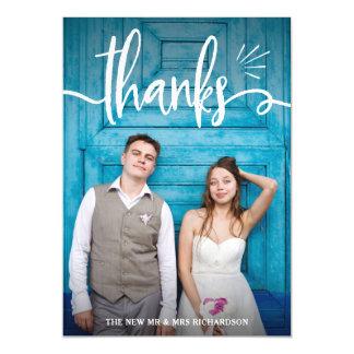 Cartão Magnético Irrisório e encante o obrigado Wedding da foto de