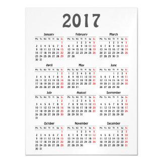 Cartão Magnético modelo de 2017 calendários