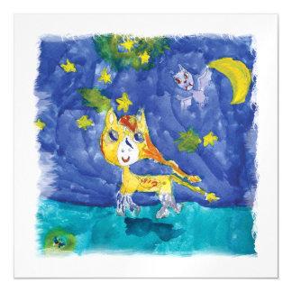 Cartão Magnético Noite estrelado Pegasus da aguarela com bastão