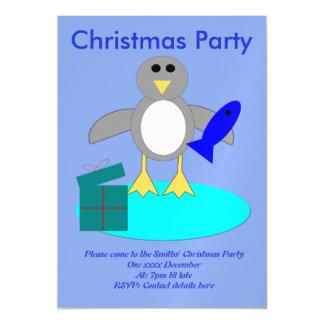 Cartão Magnético O Feliz Natal que pesca o costume do pinguim
