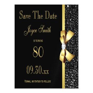 Cartão Magnético O preto e o ouro todo o aniversário da idade