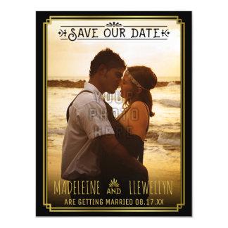 Cartão Magnético Salvar o ouro preto retro Deco da data que Wedding