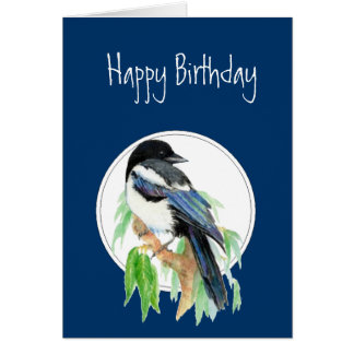 Cartão Magpie do aniversário, pássaro, natureza, animais